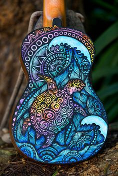Hand Painted Ukulele Turtle Design by SaltyHippieArt on Etsy