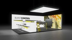 070 Turbinen Burstcontrol | Schlichter Messestand für ein Unternehmen der Luftfahrttechnik.   Das abgehängte Deckenelement sorgt für die richtige Beleuchtung auf dem kleinen E...