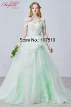 D261 Fairy puffy off shoulder low back sweep train ball gown chiffon maxi evening dress(China (Mainland))