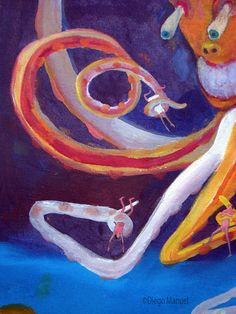 Pulpo 3, acrylic on canvas, 30 x 44 cm. , 2010. Painting of the Serie Pop Surrealism for sale by artist Diego Manuel