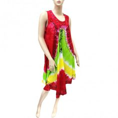 Embroidered Tie Dye Dress Red Green 10023 (6 Pcs)