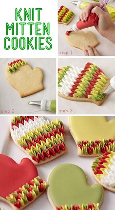 Knitted Mitten Cookies - Looks like a lot of work, but fun nonetheless! Piped petals give these cookies the look of your favorite wool mittens. Christmas Sugar Cookies, Christmas Sweets, Holiday Cookies, Holiday Desserts, Christmas Decorations, Easy Desserts, Holiday Gifts, Awesome Desserts, Baking Desserts