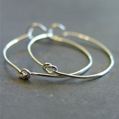 Handmade Sterling Silver Knotted Hoop Earrings - In Knots SHINY