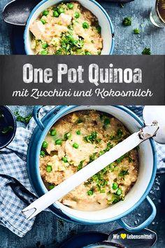 One Pot Quinoa mit Zucchini und Kokosmilch - Rezepte: Alltags- & Feierabendrezepte - Avacado Cauliflower Recipes, Veggie Recipes, Vegetarian Recipes, Chicken Recipes, Dinner Recipes, Cooking Recipes, Healthy Recipes, One Pot Meals, Easy Meals