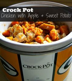 Crockpot Chicken with Apple and Sweet Potato - Love this recipe! So healthy and full of good nutrients! #Paleo #GlutenFree