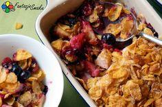 Crumble z jabłkami, malinami, borówkami i płatkami kukurydzianymi  http://fantazjesmaku.weebly.com/crumble-z-jab322kami-malinami-boroacutewkami-i-p322atkami-kukurydzianymi.html