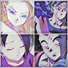 Caulifla, Goku, kale y gohan