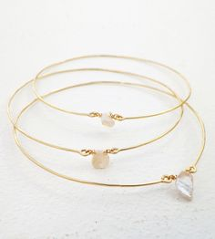 Gold Pearl Bangle Bracelets - Set of 3 by Violetfly on Scoutmob