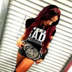 """Sasha Banks on Instagram: """"TEAM BAD!!!! Get your shirts now! @wweshop"""" featuring polyvore, fashion, clothing, tops, white tops, white shirt and shirts & tops"""
