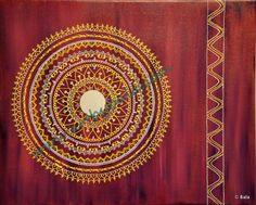 "Purple Mandala, 2012. 16"" x 20"", Textured henna style acrylics mandala painting on canvas with mirror. © Bala Thiagarajan, 2012. www.artbybala.com"