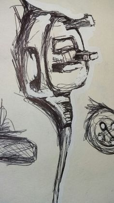 Plug socket and a button.  Doodle page in my sketchbook.