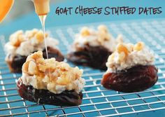 Goat Cheese Stuffed Dates and other party food Appetizers For Party, Appetizer Recipes, Party Snacks, Cheese Recipes, Dinner Recipes, Good Food, Yummy Food, Delicious Dishes, Fun Food