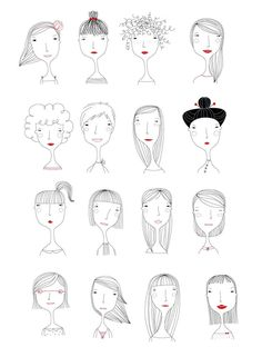Elichkata ladies diy アート, character illustration, hair illustration, people illustration, line art Doodle Art, Doodle Drawings, Easy Drawings, People Illustration, Illustrations, Illustration Art, Character Illustration, Illustration Mignonne, Art Plastique