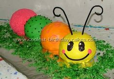 Take a look at the coolest homemade Caterpillar childrens birthday cake photos. You'll also find loads of homemade cake ideas and DIY birthday cake inspiration 2 Year Old Birthday Cake, Birthday Cake Pictures, Homemade Birthday Cakes, Cool Birthday Cakes, Birthday Cake Girls, 1st Birthday Parties, Birthday Ideas, 3rd Birthday, Easy Cake Decorating