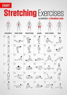 Stretching Exercises Chart by DAREBEE darebee fitness workout stretching fitnesschart # Gym Workout Chart, Band Workout, Gym Workout Tips, At Home Workouts, Exercise Chart, Ab Workouts, Elliptical Workouts, Weekly Workouts, Home Gym Exercises