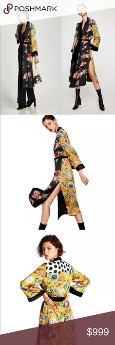 Preview! Yellow & Black Floral Print Kimono Coat Preview! Yellow & Black Floral Print Kimono Coat • Coming soon! Like this listing to be notified upon arrival. Jackets & Coats