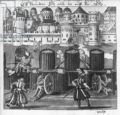 Attack on a Fortified Town, illustration from 'L'Art de l'Artillerie' by Wolff de Senftenberg, late 16th century (pencil & w/c on paper) (b/w photo)