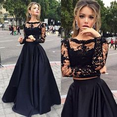 Long Sleeves prom dress,Black Prom dress,Lace long prom dress,Two pieces evening…