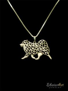 Finnish Lapphund movement jewelry - Gold pendant and necklace.