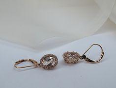 "Diamond halo morganite earrings in 14K rose gold. 1-1/2"""