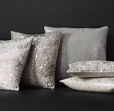 Pillows - The rustic beauty of natural cowhide finds its textural counterpoint in hand-screened metallic foils, producing striking, one-of-a-kind patterns. Coaster Furniture, Sofa Furniture, Pillow Set, Pillow Covers, Cowhide Pillows, Sofa Upholstery, Home Decor Accessories, Decoration, Decorative Pillows
