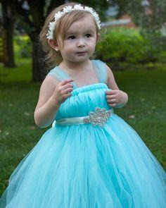 Sky blue flower girl tutu dress.