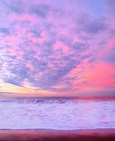 Beautiful pink beach sunset