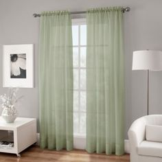 Crushed Voile Platinum Collection Sheer Rod Pocket Window Curtain Panels - BedBathandBeyond.com but in ivory