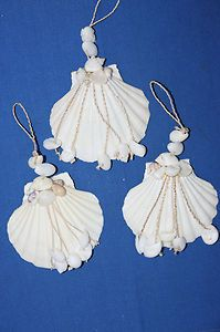 Christmas, Christmas Ornament - SET OF 3,WHITE ON WHITE,SEASHELL, CHRISTMAS TREE, ORNAMENTS,  Great to live up all year. BEACH DECOR,SHELLS | eBay