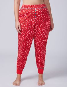 Snow Dot Knit Sleep Jogger with Buttons