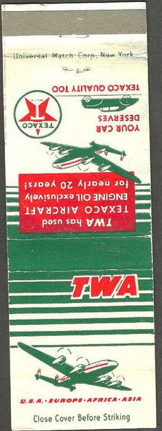 TWA 1950's #matchbook To design & order your business' advertising #matches GoTo GetMatches.com