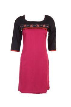 Deep U neck kurta in sangria color; 100% rayon; quarter sleeve; 38 inches long #Clothing #Fashion #Style #Kurta #Wear #Colors #Apparel #Semiformal #Print #Casuals #W for #Woman