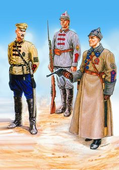 A colour plate from the Osprey Men At Arms book, The Russian Civil War The Red Army. - Visit to grab an amazing super hero shirt now on sale! Military Art, Military History, Russian Revolution 1917, Bolshevik Revolution, Civil War Art, Army Uniform, Military Uniforms, Red Army, World War I