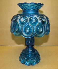 Rare Colonial Blue LE Smith Glass 3pc Candle Fairy Lamp Light Moon Stars