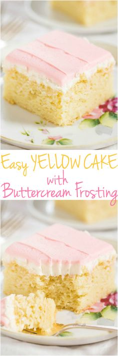 Easy Yellow Cake with Buttercream Frosting - If you've never made a scratch cake try this one! Fast easy foolproof one bowl and tastes so good! It's a keeper! Baking Recipes, Cake Recipes, Dessert Recipes, Frosting Recipes, Köstliche Desserts, Delicious Desserts, Yummy Treats, Sweet Treats, Moist Yellow Cakes