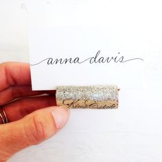 Platinum Glitter Place Card Holder