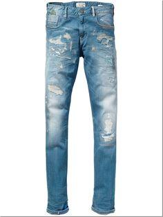 Da Uomo Designer Enzo SUPER SKINNY STRETCH COMFORT RIP Jeans Denim moda di riparazione