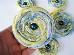Blue and Yellow Marbled Fabric Roses Handmade by BizimSupplies