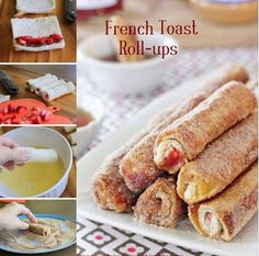 French toast roll-ups with cinnamon sugar! Try it for breakfast or dessert with different fillings such as fresh fruit, cream cheese, Nutella, marshmallow fluff, etc.