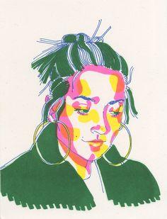 ainsley romero - risograph prints Inspirational Artwork, Portrait Illustration, Art Graphique, Surreal Art, Art Sketchbook, Graphic Art, Graphic Design, Illustrations Posters, Screen Printing