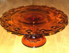 Vintage 50's-60's Indiana Glass Amber Teardrop Pattern Cake Plate Stand