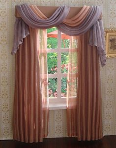 Miniature 112 Dollhouse curtains by TanyaCurtains on Etsy, $40.00