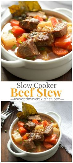 Healthier Slow Cooker Beef Stew - This is a very simple, but yet hearty slow cooker stew with potatoes, carrots, turnips, parsnip and herbs. primaverakitchen.com