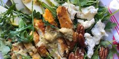 Salty cheese, sweet pear and crispy chicken make this salad a serious winner.