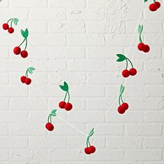 For your consideration is Land of Nod (now Crate & Barrel Kids) Felt Cherry Garland. Diy Land Of Nod, Doll High Chair, Dollhouse Family, Nursery Neutral, Kids Decor, Crate And Barrel, Silk Flowers, Gifts For Kids, Crates