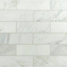 Use the Carrara white polished marble floor and wall tile for your next installation or renovation project to incorporate a contemporary aesthetic into your decor. The attractive combination of a polished, Marble Subway Tiles, Marble Mosaic, Marble Floor, Tile Floor, Stone Mosaic, Calacatta Gold, Carrara Marble, Thing 1, White Marble