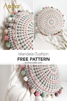 Pillows are always fun to make! This beautiful Mandala pillow is crocheted with cotton Anchor Creativa Yarn. Modern Crochet, Crochet Round, Crochet Home, Diy Crochet, Crochet Crafts, Crochet Projects, Mandala Crochet, Double Crochet, Crochet Cushion Cover