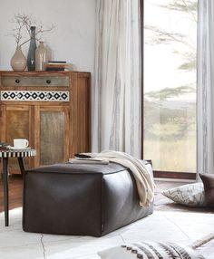 Orientalisch wohnen mit Hocker aus schwarzem Leder Western Style, Spirit Of Summer, Ottoman, Chair, Form, Design, Furniture, Home Decor, Products
