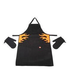 Another great find on #zulily! Orange Flame Apron & Oven Mitt Set by Vacu Vin #zulilyfinds