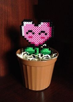 8 Bit Potted Plant Collection  Pink Heart Fire Power by EBPerler, $10.00